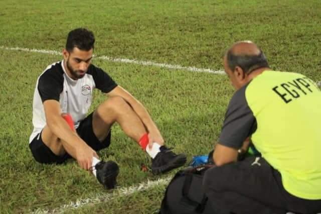 إصابة عمرو السولية بتدريبات المنتخب اليوم