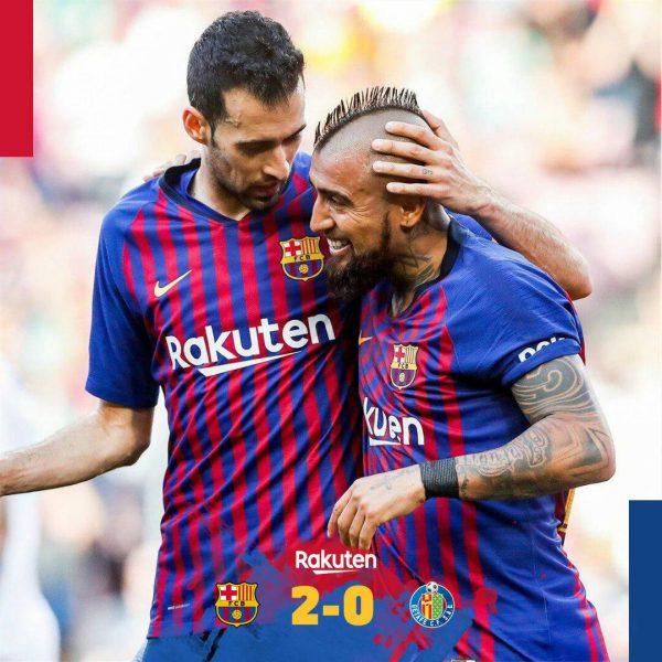 ملخص وأهداف مباراة برشلونة وخيتافى فى الدورى الإسبانى.