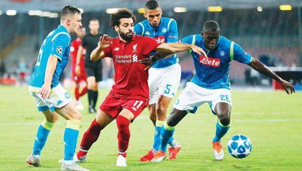 موعد مباراة نابولي وليفربول والقنوات الناقلة بدوري أبطال أوروبا