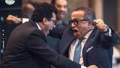 Photo of وزير الرياضة والجنايني يهنئان شوقي غريب في ارض الملعب