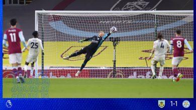 نتيجة مباراة ليستر سيتي ضد بيرنلي في الدوري الانجليزي