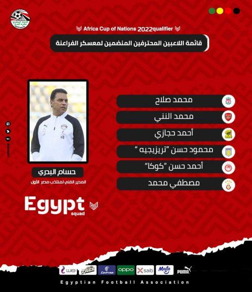 قائمة منتخب مصر للاعبين المحترفين لمباراة كينيا وجزر القمر